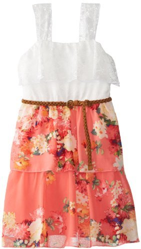 Ruby Rox Big Girls' Ruffle Top Dress with Printed Tiered Skirt
