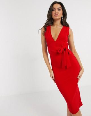Girl In Mind v neck sleeveless midi dress in red