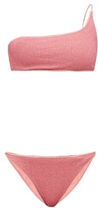 Oseree Lumiere Metallic One-shoulder Bikini - Womens - Pink