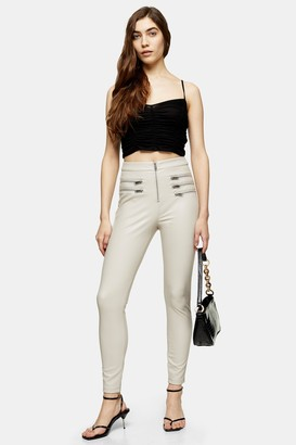 Topshop Womens Taupe Skinny Faux Leather Trousers - Taupe