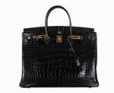 Hermes very good (VG Black Alligator 40cm Birkin Bag with Gold Hardware