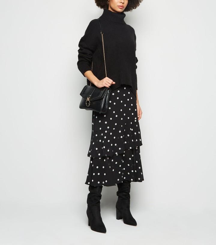Thumbnail for your product : New Look Spot Print Frill Chiffon Midi Skirt