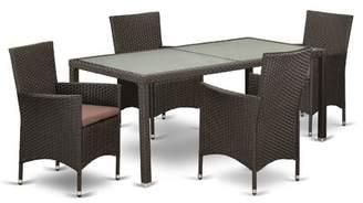 Pépé Wrought Studio Outdoor Backyard 5 Piece Dining Set with Cushions Wrought Studio