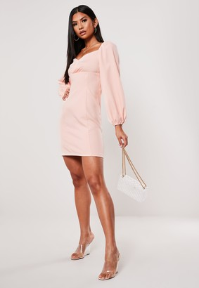 Missguided Pink Puff Sleeve Milkmaid Dress
