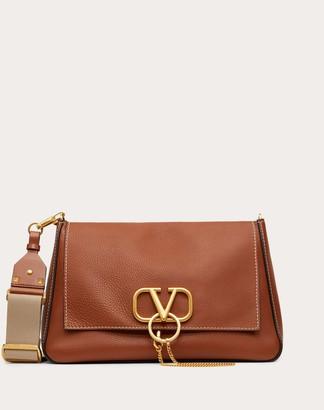 Valentino Large Vring Grainy Calfskin Crossbody Bag Women Saddle Brown 100% Pelle Di Vitello - Bos Taurus OneSize