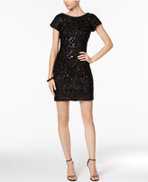 Sandra Darren Petite Scoop-Back Sequined Sheath Dress