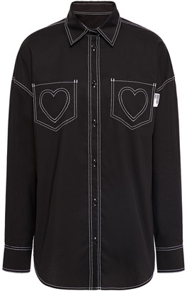 Love Moschino Embroidered Stretch-cotton Poplin Shirt