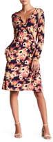 Loveappella Long Sleeve Wrap Printed Dress