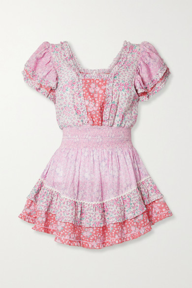 LoveShackFancy Stanton Patchwork Floral-print Swiss-dot Cotton Mini Dress - Baby pink