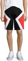 Neil Barrett Colorblock Neoprene Shorts, Black/Red/White