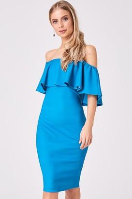 Girls On Film Candice Turquoise Ruffle Bardot Bodycon Dress