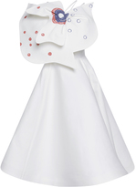 Vika Gazinskaya Printed Bow Embellished Shoulder Strap Dress