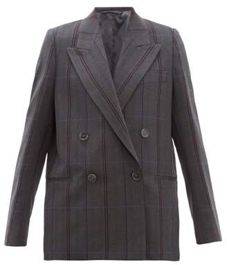 Acne Studios Checked Double Breasted Wool Blend Blazer - Womens - Dark Grey