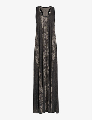 AllSaints Ami Masala snakeskin-print crepe maxi dress