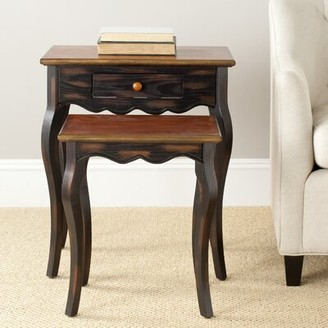 August Grove Swayze Solid Wood 4 Legs 1 Drawer Nesting Tables with Storage