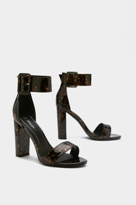 Nasty Gal Womens One Shell Of A Time Tortoiseshell Buckle Heels - Brown - 3
