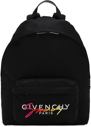 Givenchy Logo Embroidered Nylon Urban Backpack