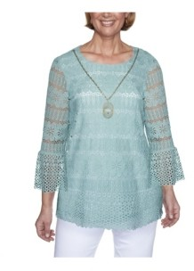 Alfred Dunner Women's Plus Size Floral Lace Biadere Top