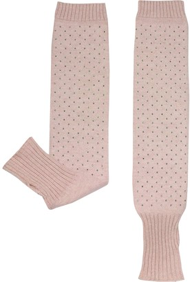 Julia Cocco' Pink Knitted Arm Warmers Long Fingerless Gloves w/Thumb Hole