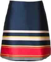 Suno striped A-line skirt