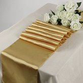 MDS Pack Of 10 Wedding 12 x 108 inch Satin Table Runner Wedding Banquet Decoration- Gold