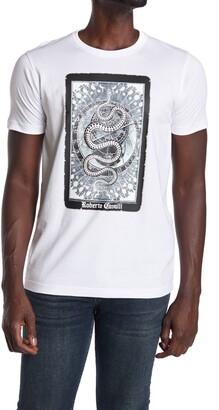 Roberto Cavalli Snake Card Crew Neck T-Shirt