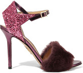 Charlotte Olympia Capella Shearling And Glittered Metallic Leather Sandals - Grape