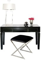 The Well Appointed House Worlds Away Jacklyn Black Glass Beveled Three Drawer Desk