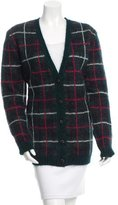 Saint Laurent Tartan Mohair-Blend Cardigan