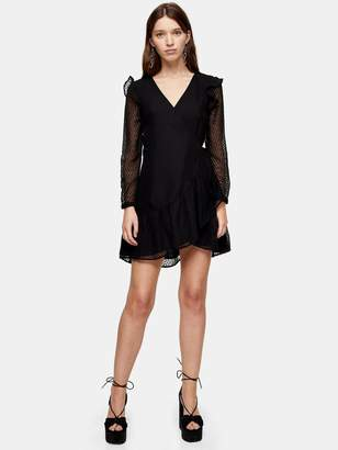 Topshop Textured Ruffle Mini Dress - Black