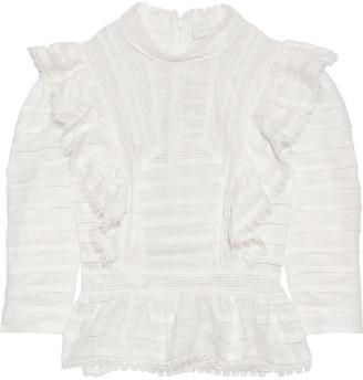Zimmermann Allia Ruffled Lace-trimmed Linen-gauze Top