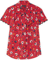 Marc Jacobs Pussy-bow Floral-print Silk-jacquard Blouse - Red