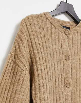 ASOS DESIGN coordinating chunky ribbed crew neck cardigan in beige