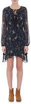Barneys New York WOMEN'S FLORAL CHIFFON DRESS-NAVY SIZE XS