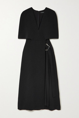 Cushnie Cape-effect Pleated Cady Midi Dress - Black