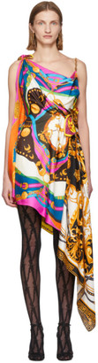 Versace Multicolor Mixed Print Draped Asymmetric Dress