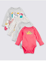 Marks and Spencer 5 Pack Pure Cotton Dino Print Bodysuits