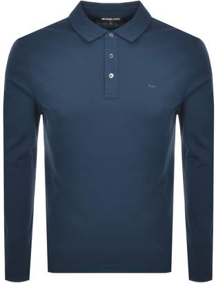 Michael Kors Sleek Long Sleeve Polo T Shirt Blue