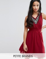 Yumi Petite Skater Dress With Embellished Neckline