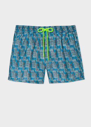 Paul Smith Men's Blue Geometric Print Swim Shorts