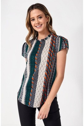 Iclothing iClothing Suzy Frill Neck Top in Green Patchwork Print