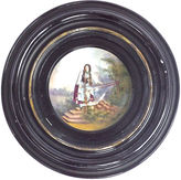 One Kings Lane Vintage Round Frame Porcelain Maiden Wall Plaque