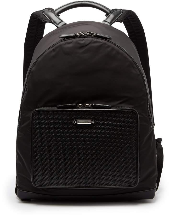 Ermenegildo Zegna Front-pocket nylon and leather backpack
