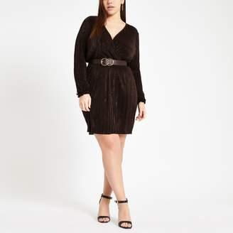 River Island Womens Plus dark Brown plisse wrap front mini dress