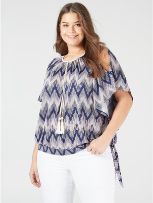 M&Co Blue Vanilla Curve cold shoulder tassle top