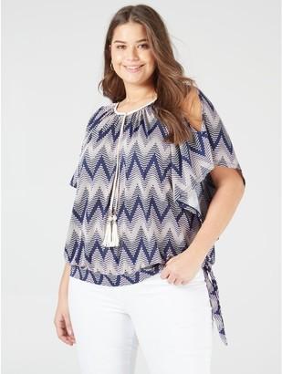 M&Co Blue Vanilla Curve cold shoulder tassle top