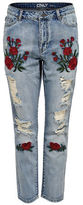 Only onlTONNI Boyfriend Floral Embroidered Jeans