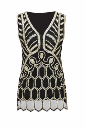 Metme Women Vintage V Neck Slight Loose Flashy Sequin Sparkly Vest Tops Tank Tops
