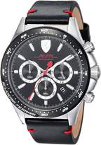 Ferrari Scuderia Men's 'PILOTA' Quartz Stainless Steel and Leather Casual Watch, Color: (Model: 0830389)