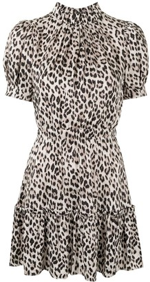 Alice + Olivia Leopard Print Puff Sleeve Dress